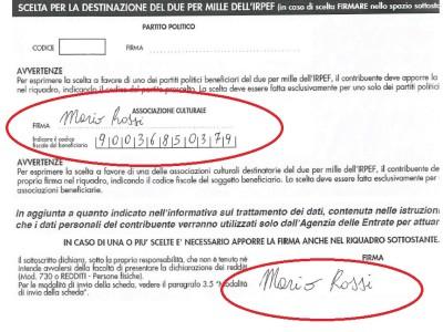 Destinazione 2×1000 a Camarilla Italia
